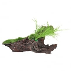 Black Driftwood Replica With Moss