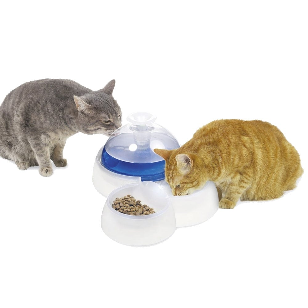 Catit Design Fresh Clear Drinking Fountain With Food Bowl Pet