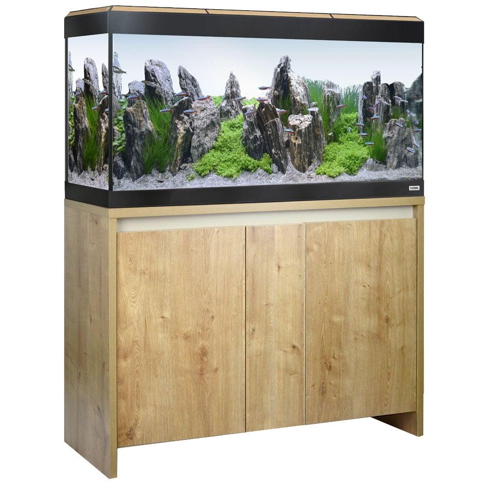 Fluval roma 200 led aquarium cabinet set oak for Aquarium set