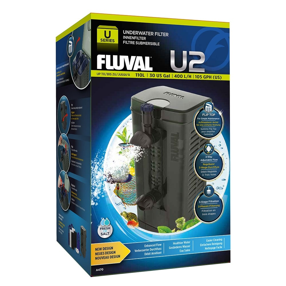 Fluval u2 underwater filter 400lph fluval from pond for Underwater pond filter