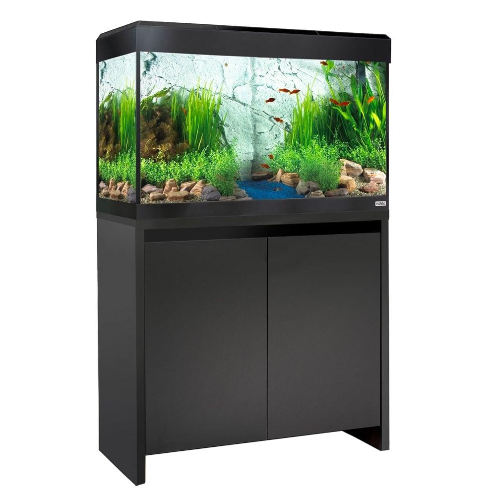 Fluval roma 125 led aquarium cabinet set black for Aquarium set
