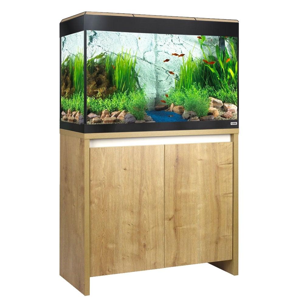 Fluval roma 125 led aquarium cabinet set oak for Fish tank sets