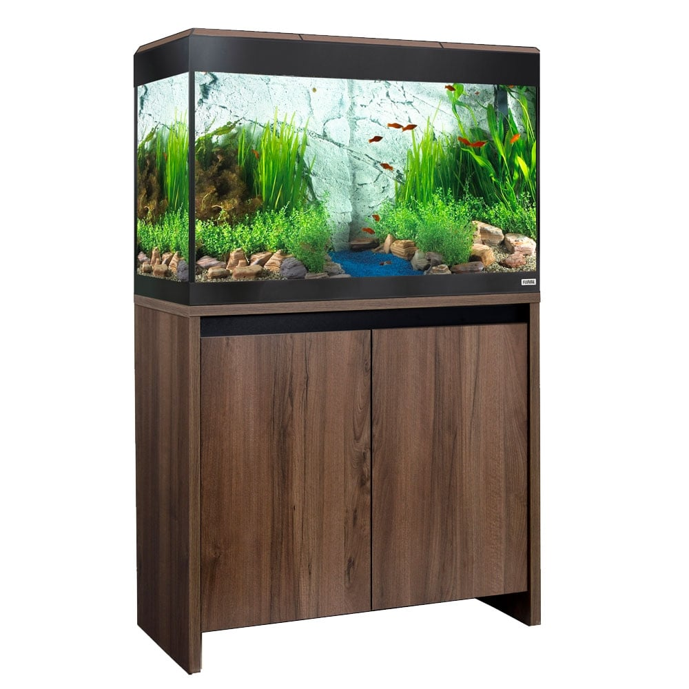 Fluval roma 125 led aquarium cabinet set walnut for Aquarium decoration set