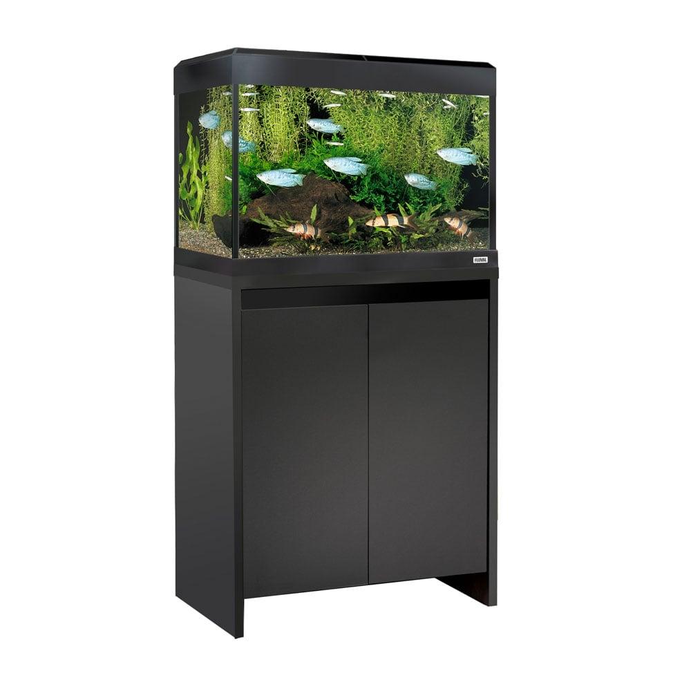 Fluval roma 90 led aquarium cabinet set black for Fish tank vs pond